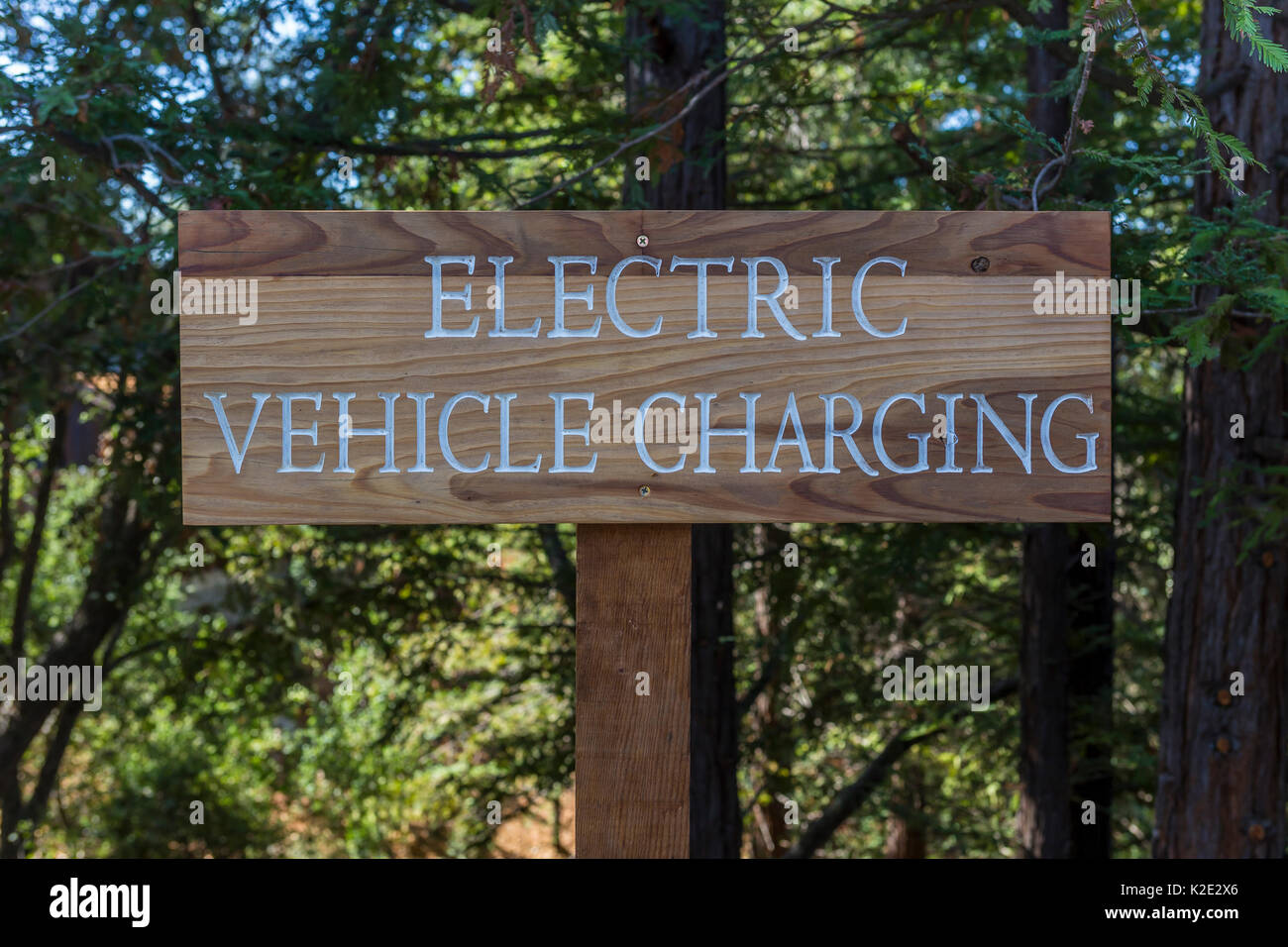 electric vehicle charging station, clean energy, Joseph Phelps Vineyards, Napa Valley, Napa County, California, Stock Photo