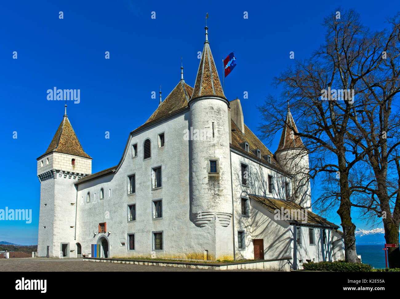 Nyon Castle, Chateau de Nyon, Nyon, Vaud, Switzerland - Stock Image