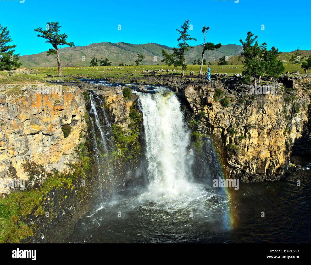 Orkhon Waterfall, Orchon Valley, Khangai Nuruu National Park, Övörkhangai Aimag, Mongolia - Stock Image