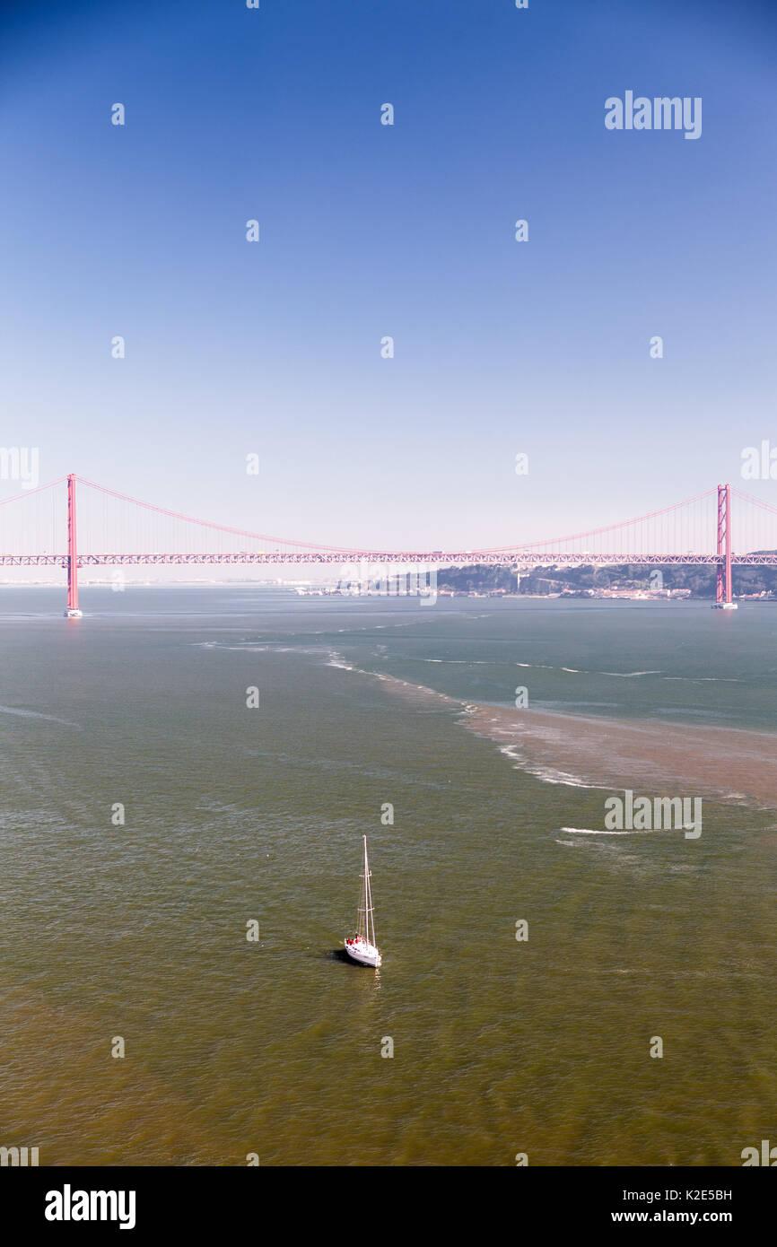 25 abril bridge, suspension bridge in Lisbon Stock Photo