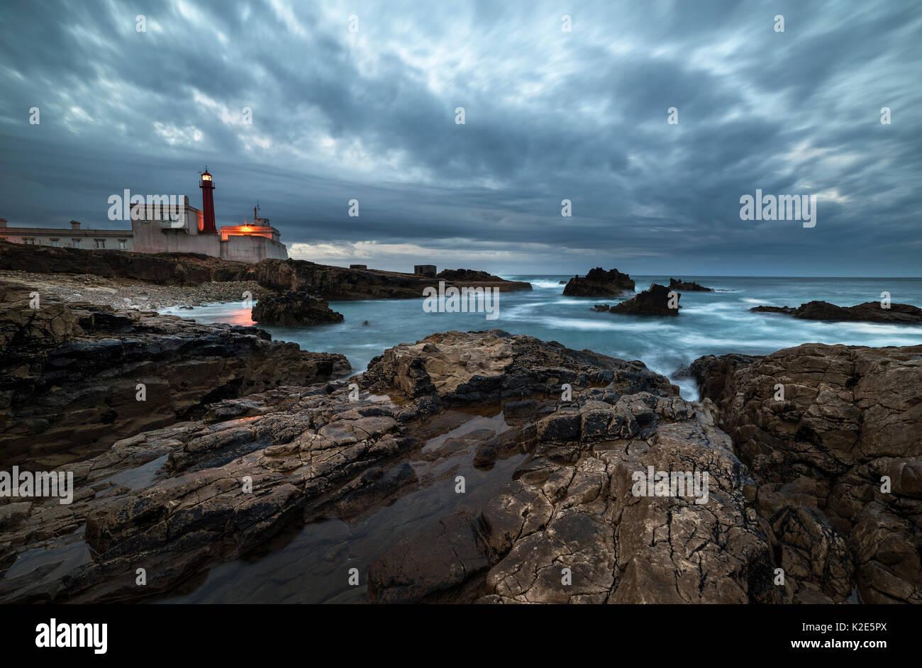 Lighthouse, Cape Cabo Raso, Forte de Sao Bras de Sanxete, Cascais, Lisbon, Portugal - Stock Image