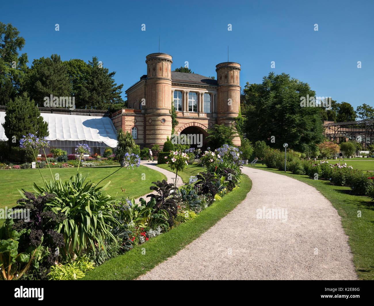 Arched building, botanical garden in the castle garden Karlsruhe, Karlsruhe, region Middle Oberrhein, Baden-Württemberg Stock Photo