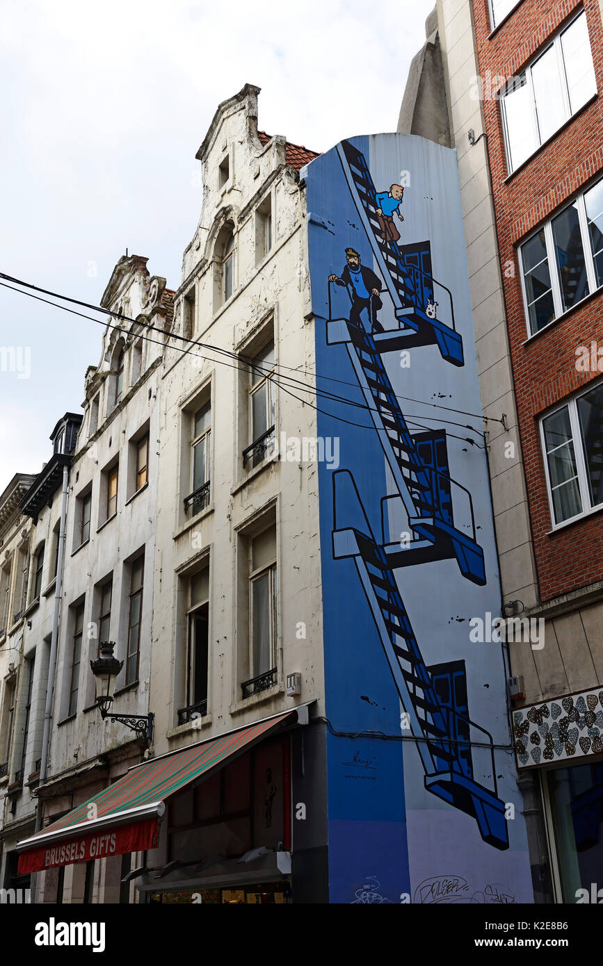 Tim and Struppi, Graffito in the Rue L'Etuve Stoof, Brussels, Belgium - Stock Image