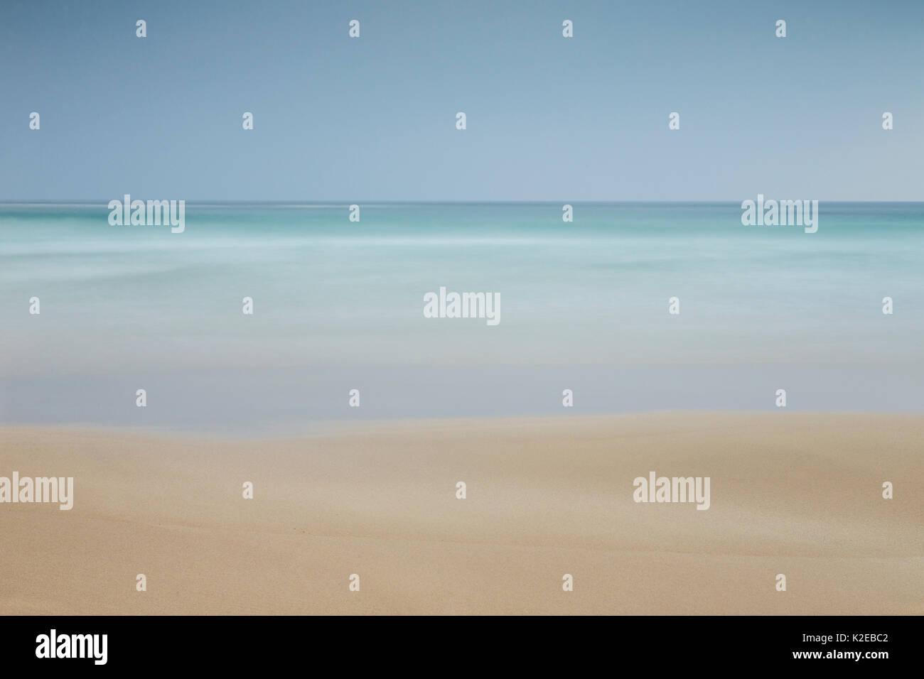 Hebridean beach and ocean, long exposure, Western Isles, Scotland, UK, April 2013. - Stock Image