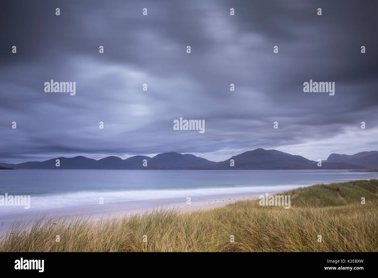 View across Sound of Taransay to North Harris hills, West Harris, Outer Hebrides, Scotland, UK, September 2014. - Stock Image
