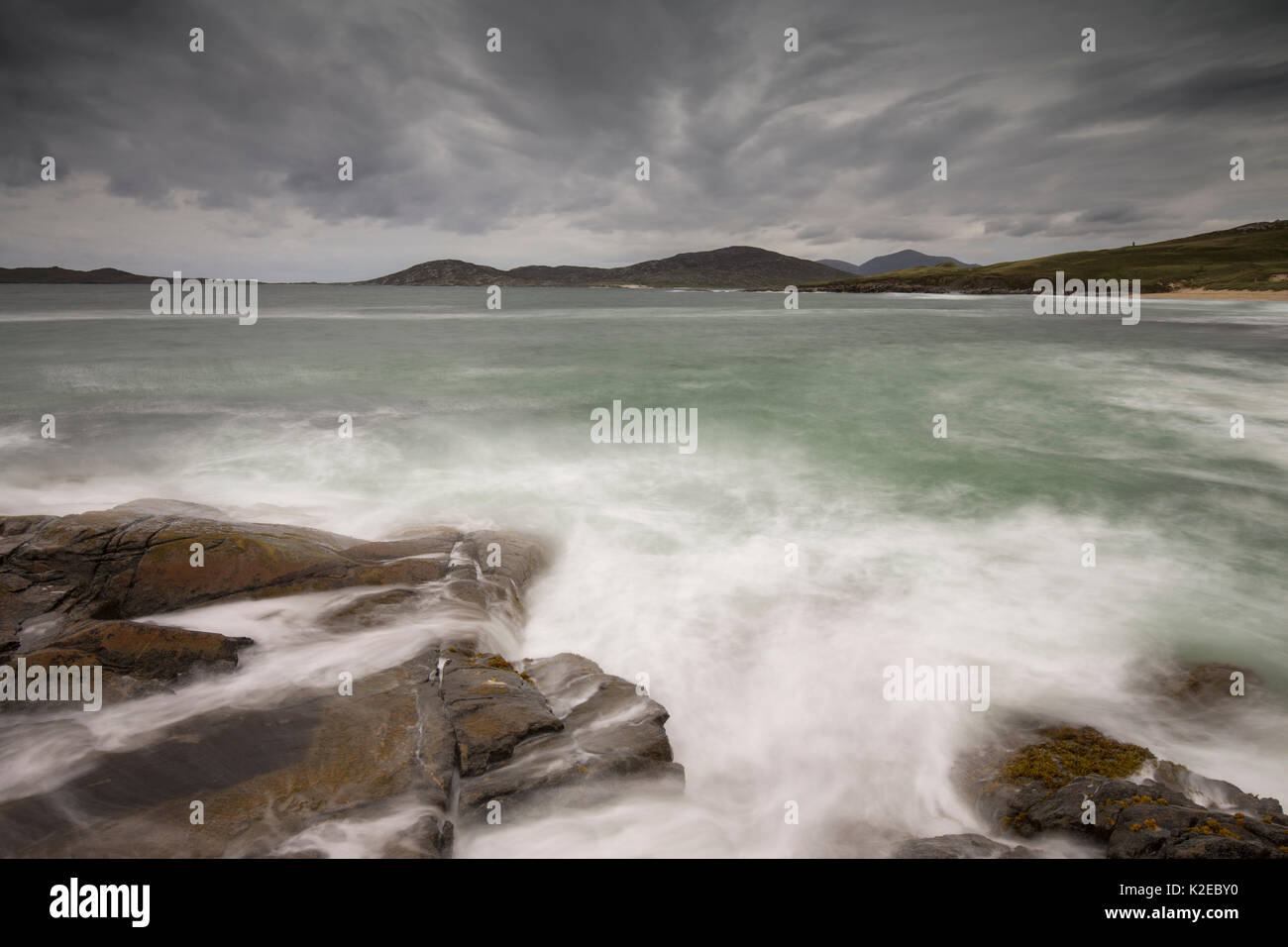 Stormy seas across Sound of Taransay, West Harris,  Outer Hebrides, Scotland, UK, September 2014. - Stock Image