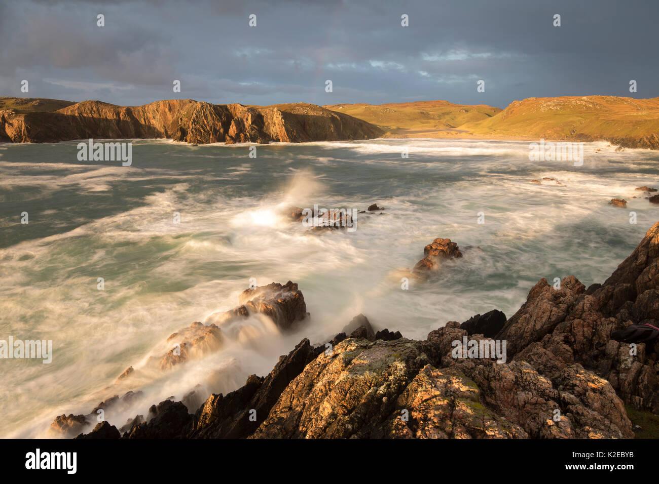 Stormy light over Mangurstadh / Mangersta beach, Isle of Lewis, Outer Hebrides, Scotland, UK, October 2014. - Stock Image