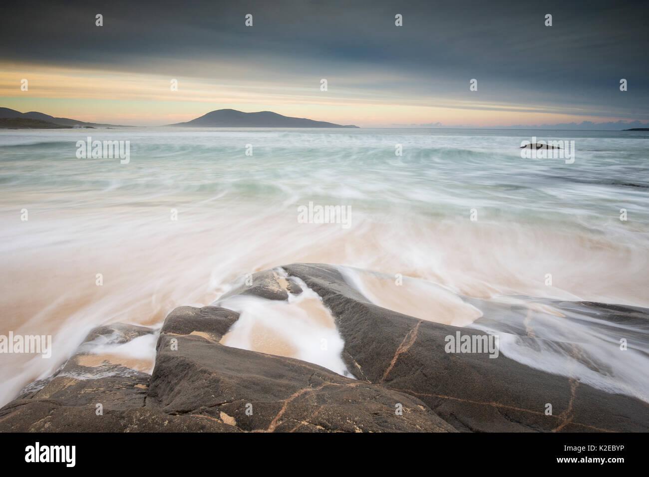 Dawn across Sound of Taransay towards Toe Head, West Harris, Outer Hebrides, Scotland, UK, October 2014. - Stock Image