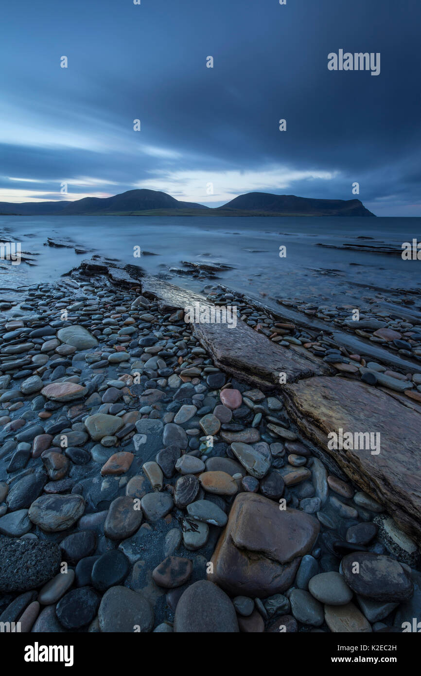 Warebeth Beach at dawn with view to Hoy, Orkney, Scotland, UK, November 2014. - Stock Image