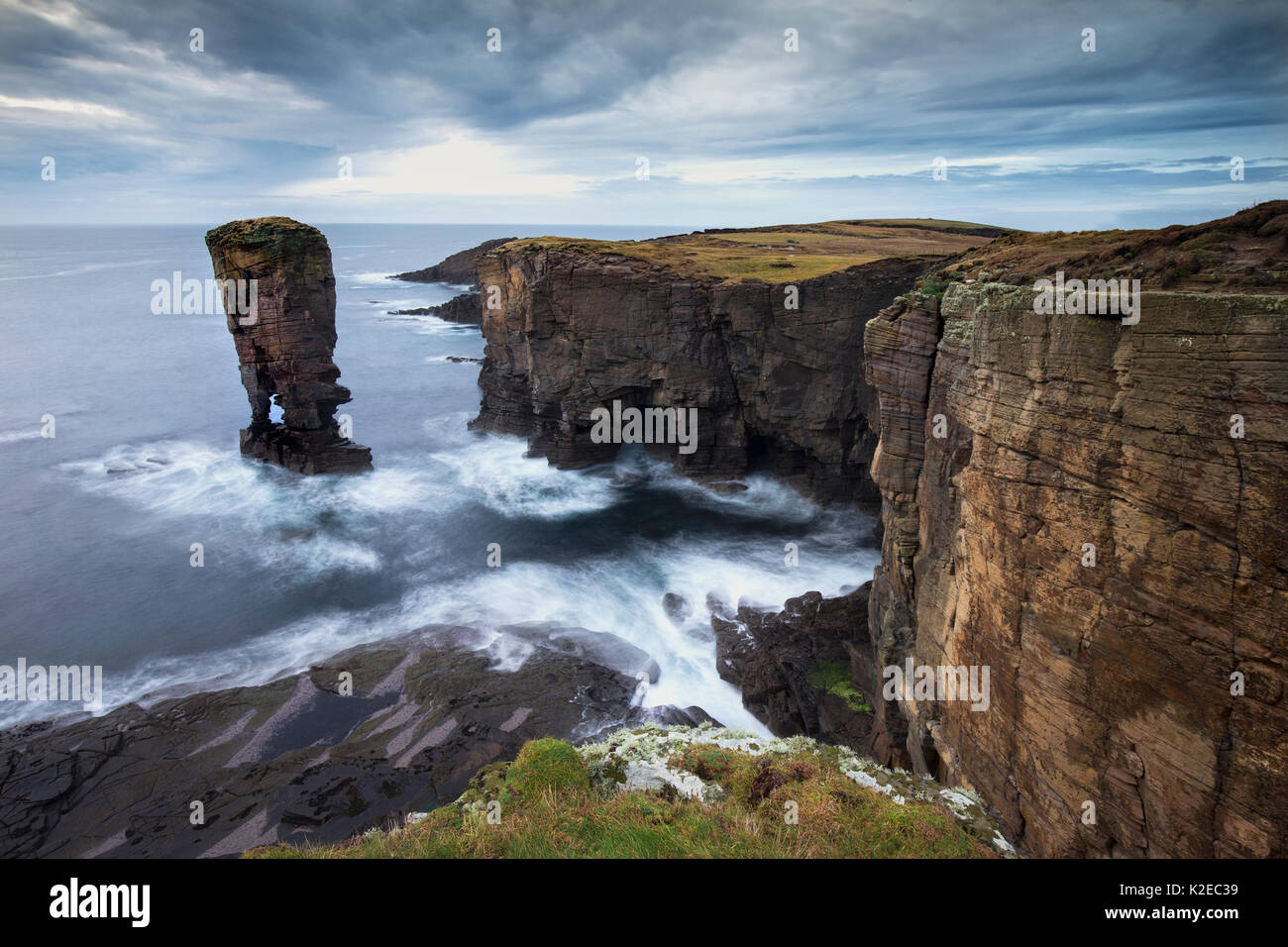 Yesnaby sea stack in stormy light, Orkney, Scotland, October 2014. - Stock Image