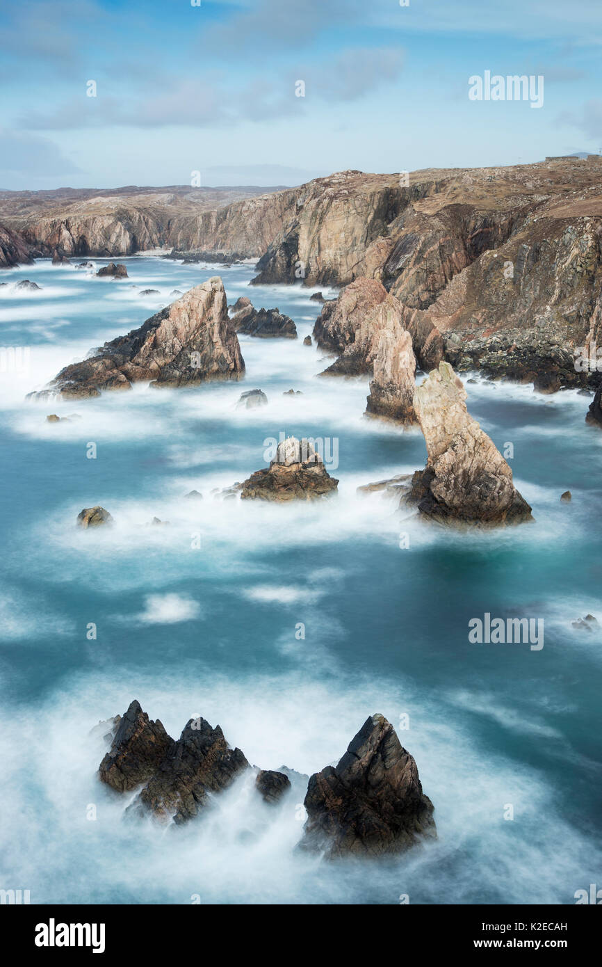 Sea stacks off Mangurstadh / Mangersta Beach, Isle of Lewis, Outer Hebrides, Scotland, UK, March 2015. Stock Photo