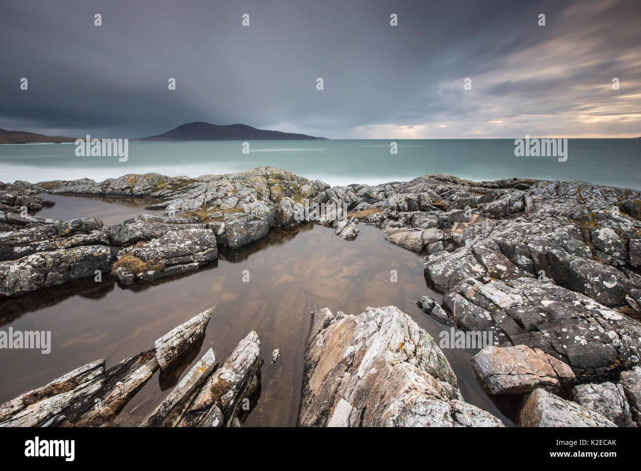 View towards Toe Head across Sound of Taransay from Scarista Beach, Borve, West Harris, Outer Hebrides, Scotland, Stock Photo