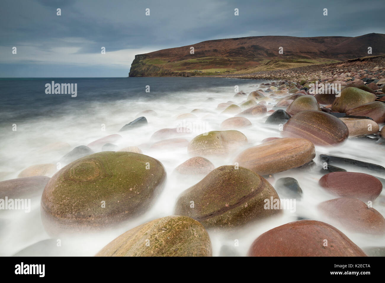 Coloured rocks, Rackwick Bay, Isle of Hoy, Orkney Isles, Scotland, UK, October 2014. - Stock Image