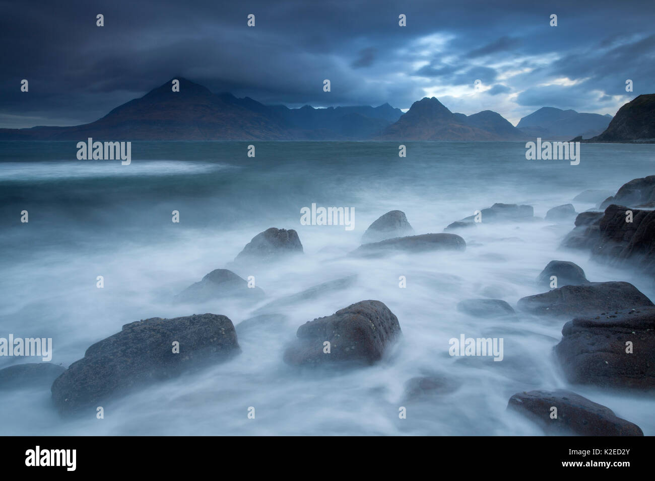 Cuillins Mountains seen from Elgol, Isle of Skye, Scotland, UK, November 2011. - Stock Image