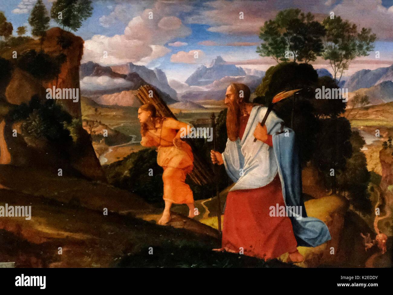 Abraham and Isaac, 1817 - Johann Heinrich Ferdinand Olivier - Stock Image