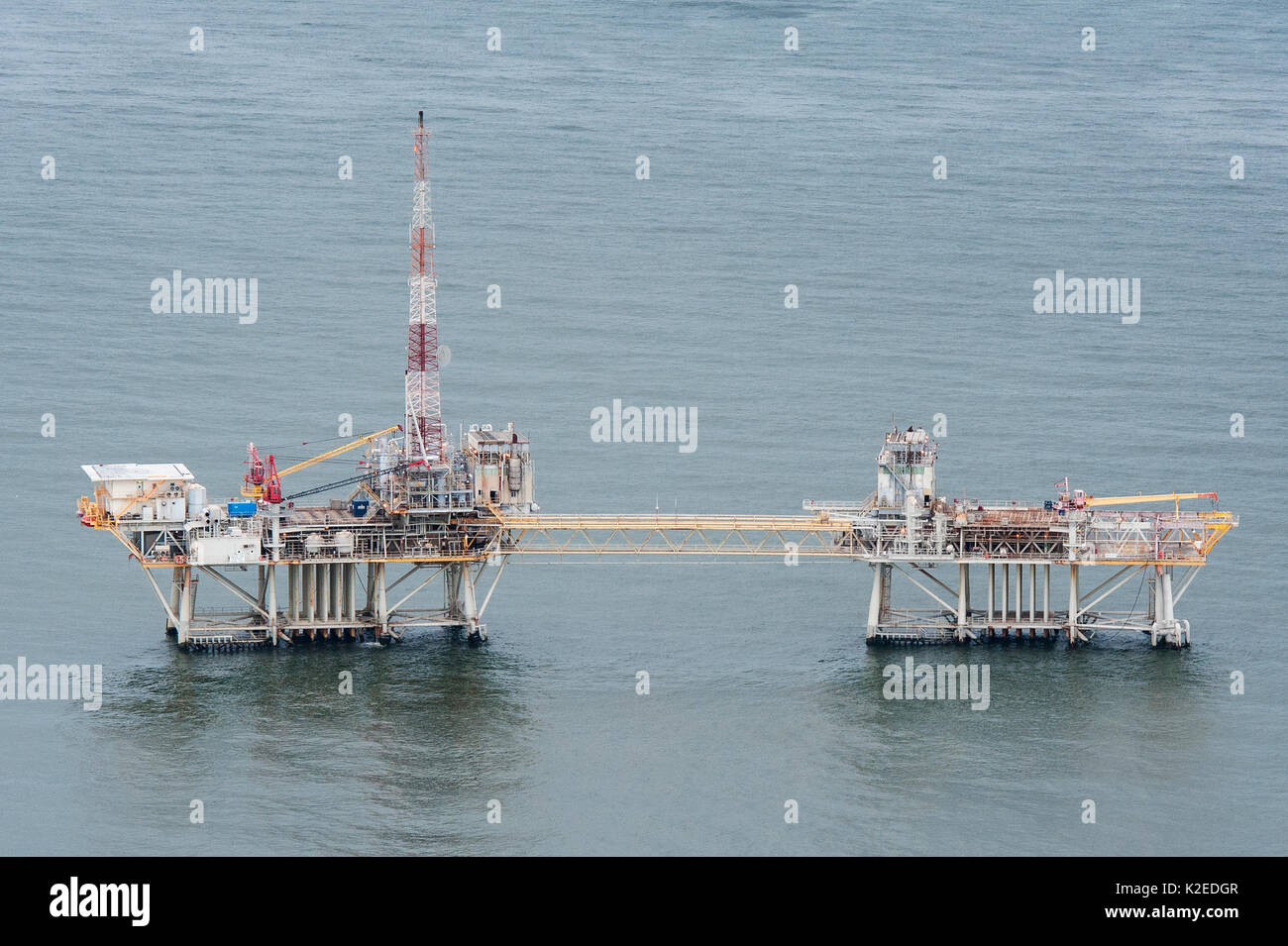 Aerial view of oil rig drilling platform,  Louisiana, Gulf of Mexico, USA 2010 Stock Photo