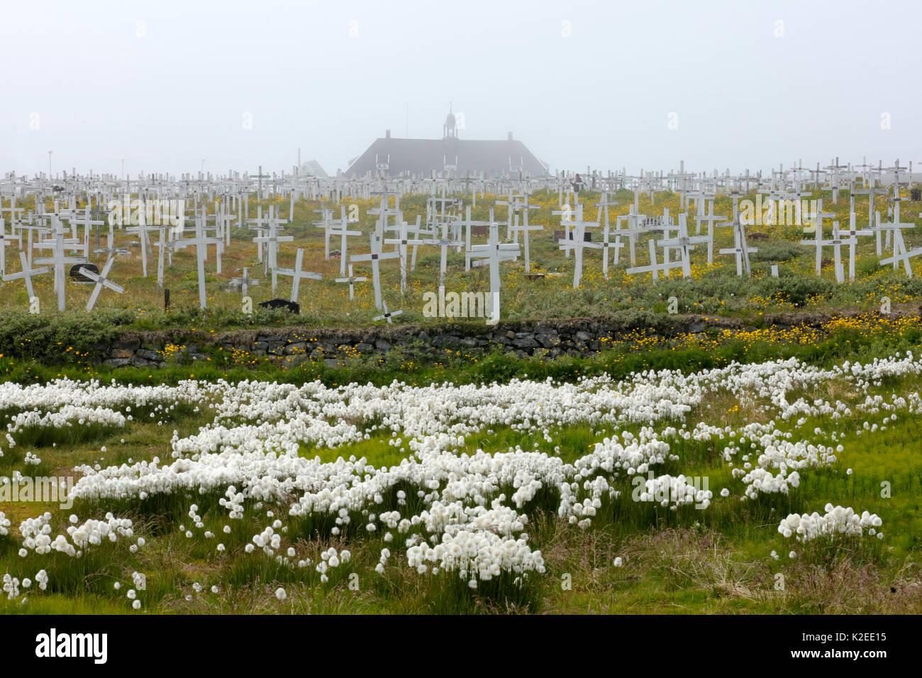 Greenlandic graveyard, Nuuk, Greenland, July 2016. - Stock Image