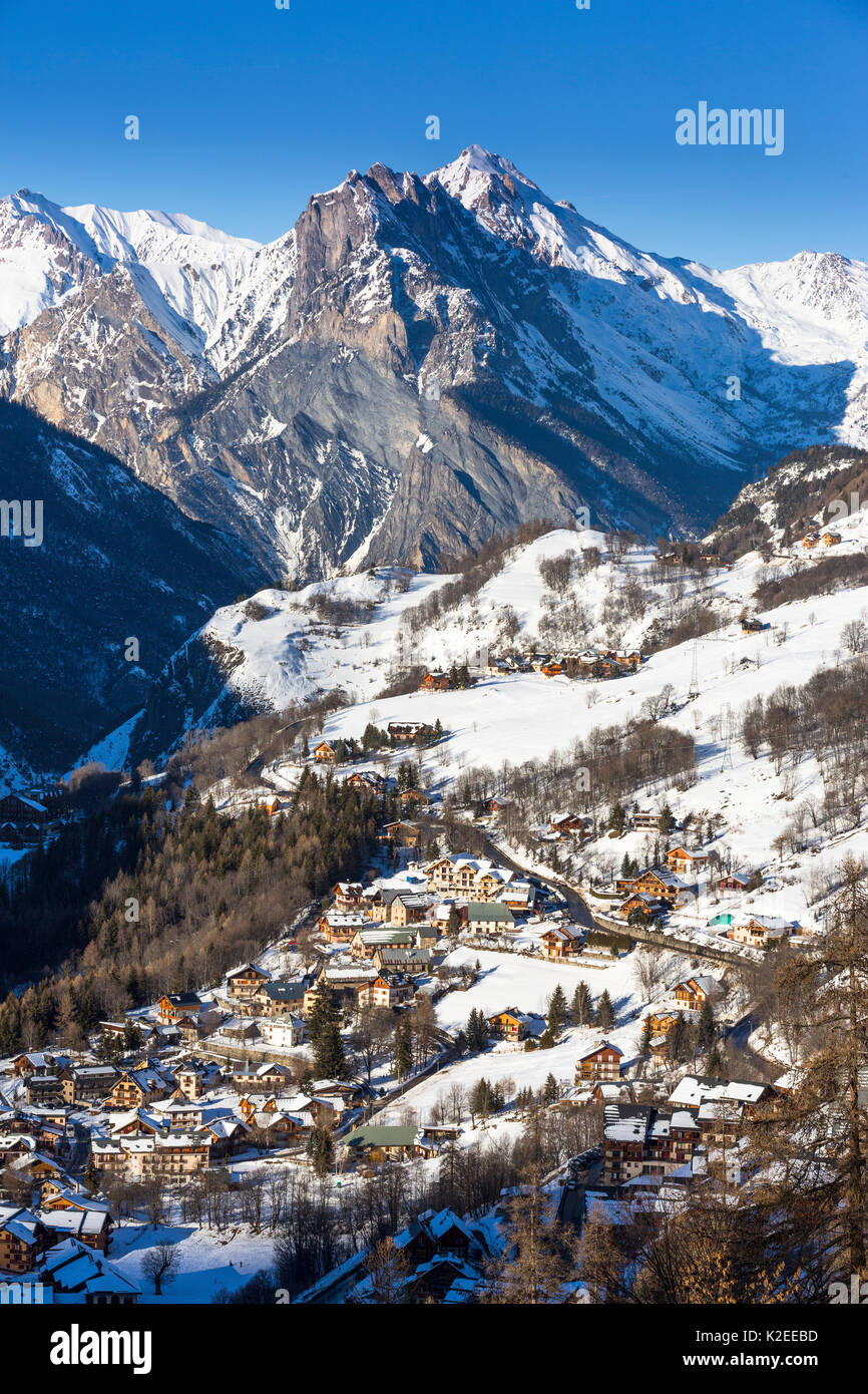 Valloire ski resort, Savoie in the French Alps, Maurienne Valley, Savoie, France - Stock Image