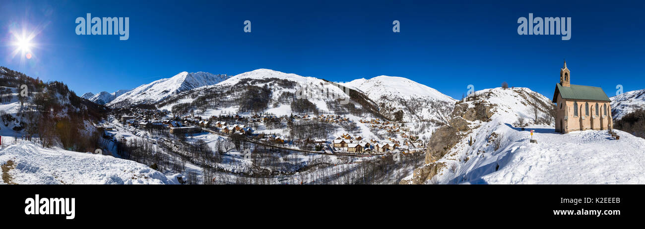 Stitch panorama of Valloire ski resort, Savoie in the French Alps. Maurienne Valley, France - Stock Image