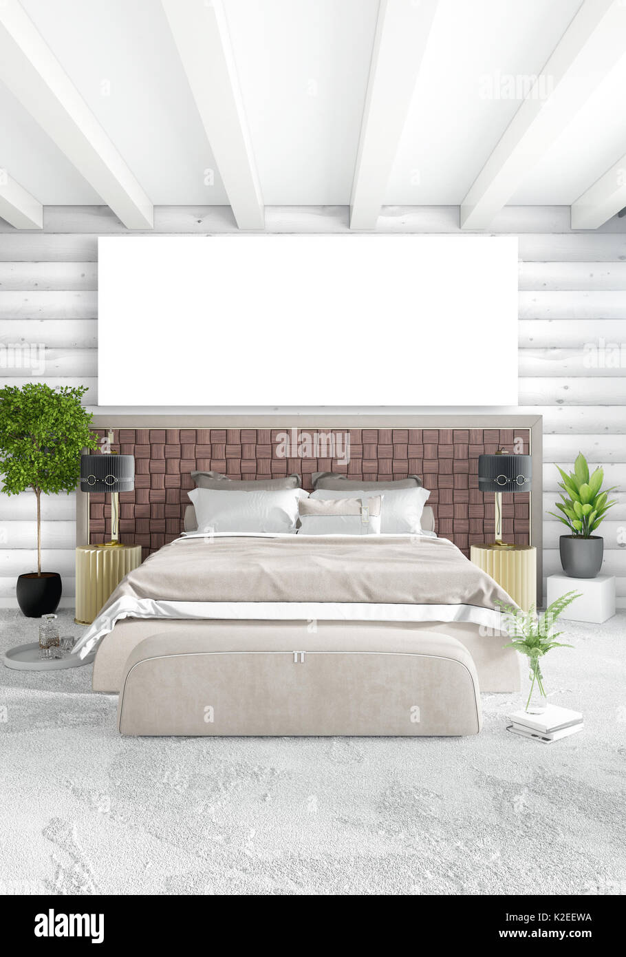 White Bedroom Minimal Modern Or Loft Style Interior Design With Wood Stock Photo Alamy