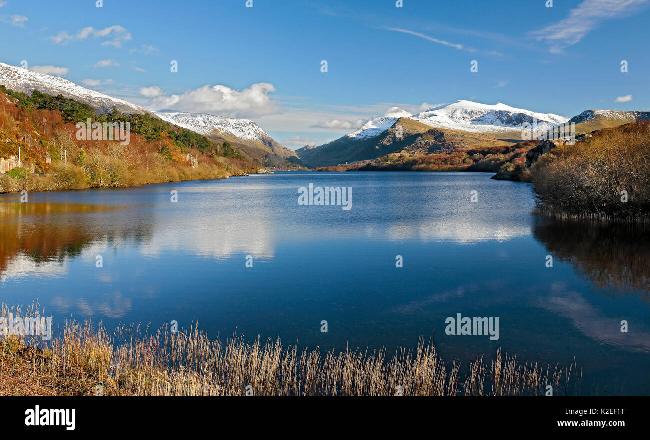 Llyn Padarn viewed from the northern end towards LLanberis with Mount Snowdon to the right in the background in Stock Photo