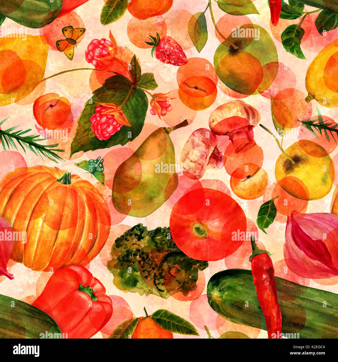 Vegan food seamles watercolor pattern with butterflies and dots - Stock Image