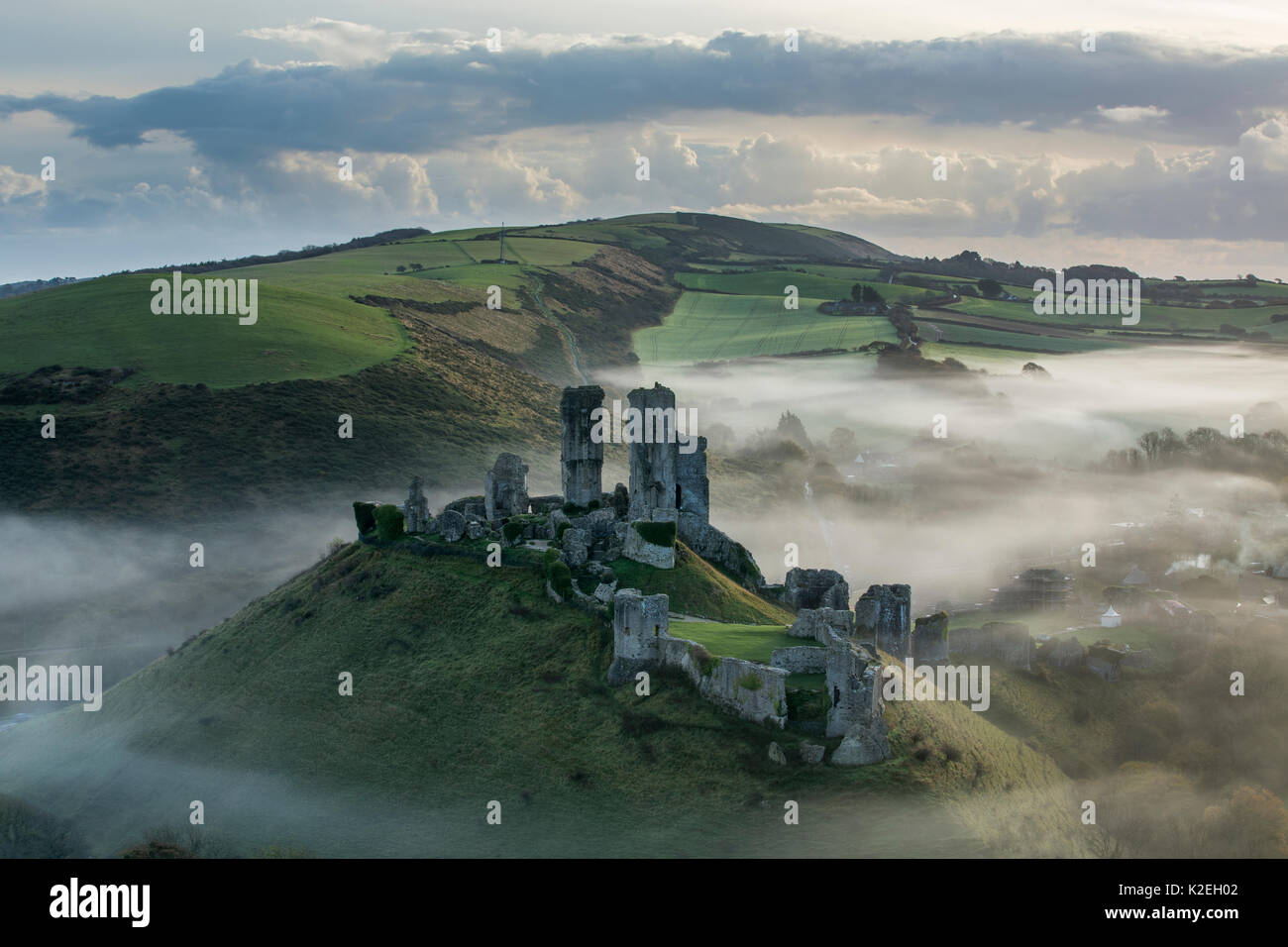 Corfe Castle in the mist, Corfe, Dorset, UK, November 2014. - Stock Image