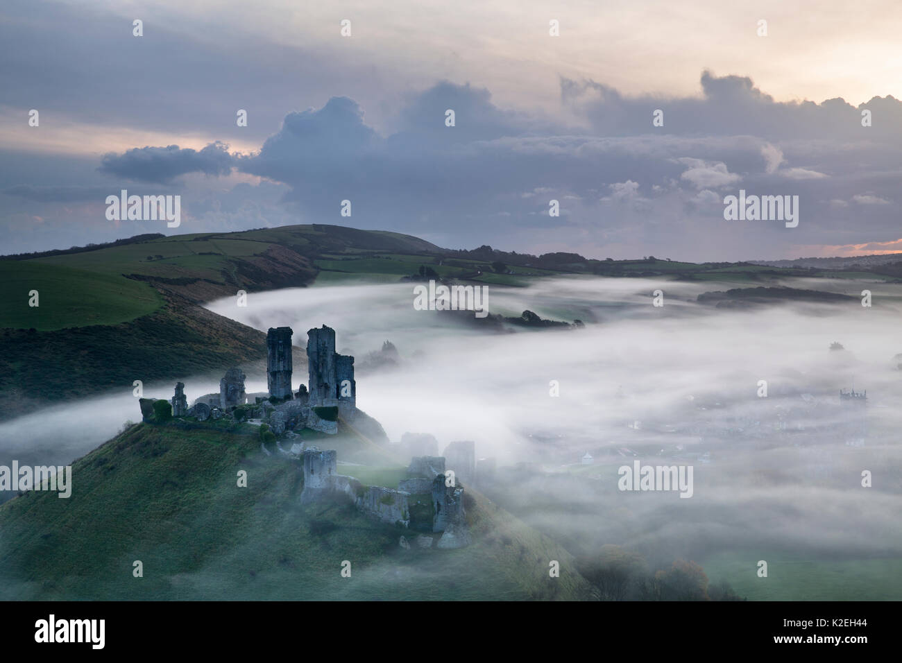 Corfe Castle in the mist at dawn, Dorset, England, UK, November 2014, - Stock Image