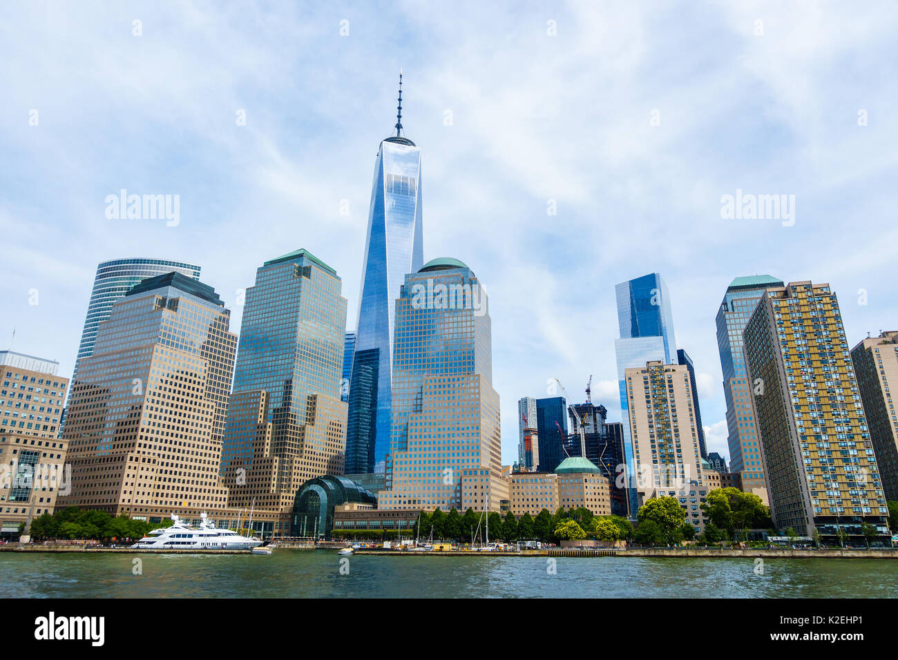 One World Trade Center in Lower Manhattan as seen from the Hudson river, New York City, USA - Stock Image