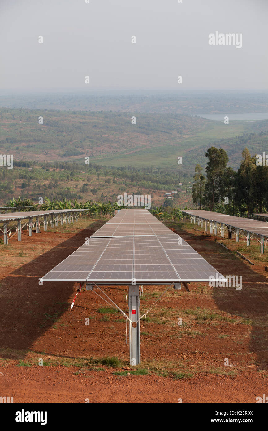 Solar panels in one of East Africa's largest Solar farms, Rwamagana District, Rwanda. July 2014. - Stock Image