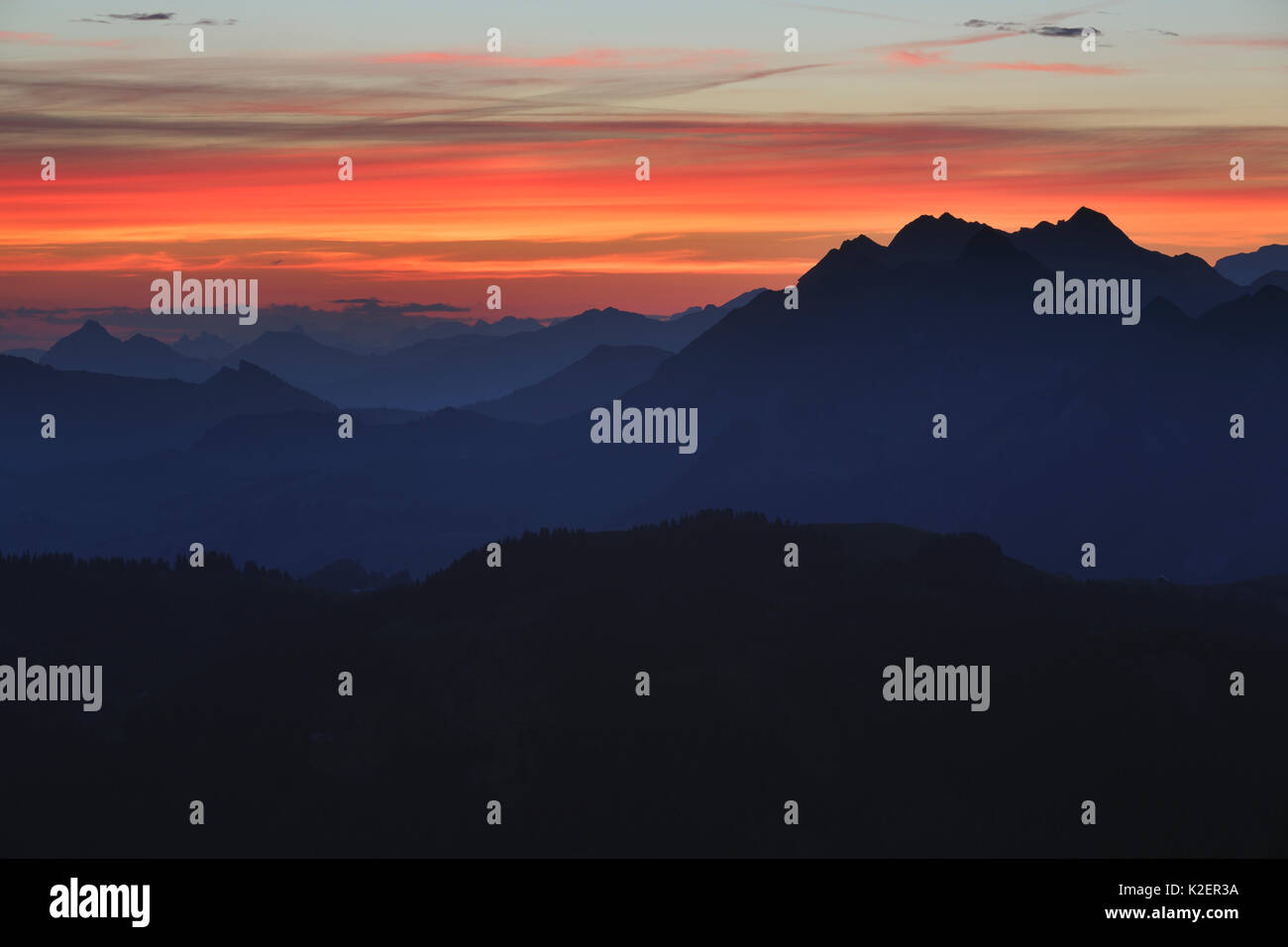 The view east to the Brienzer Rothorn seen from the Gemmenalphorn (061m) at sunrise, Bernese Alps, Canton of Berne, Stock Photo
