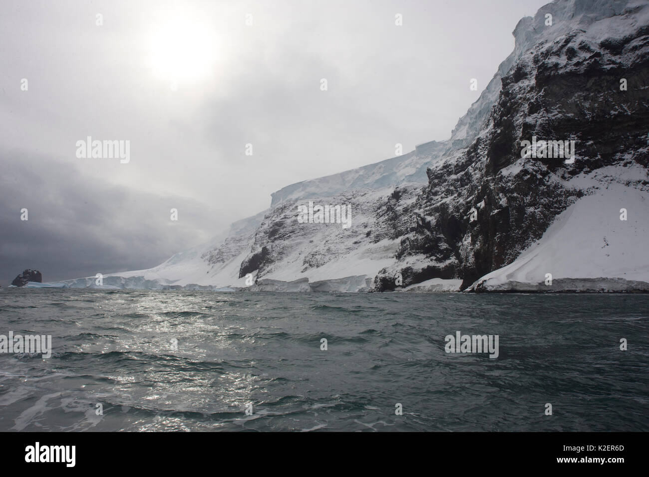 Coastline of Buckle Island, Balleny Islands, Antarctica, February. Stock Photo