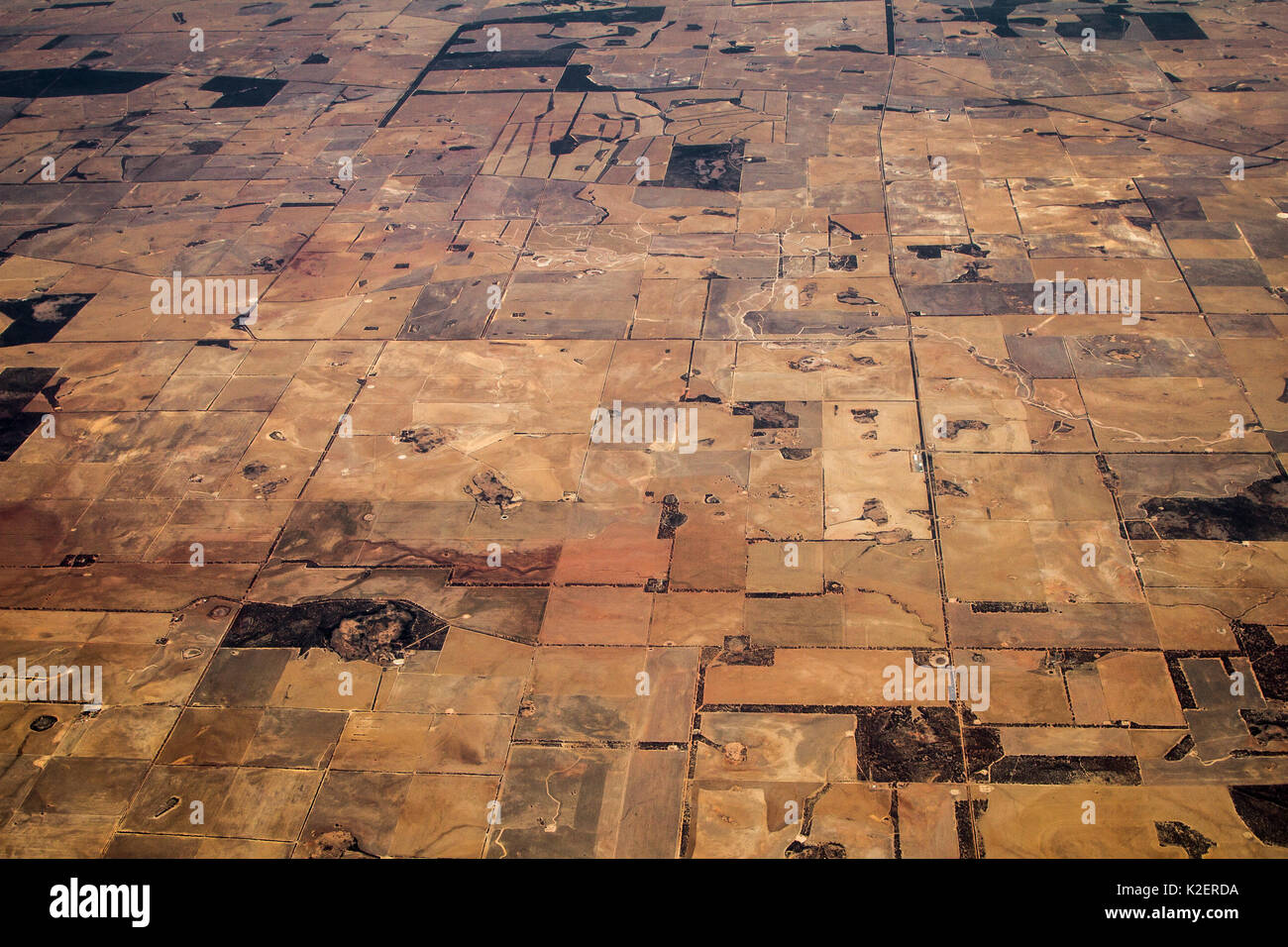 View from plane of landscape between Alice Springs and Perth, Australia, November. - Stock Image