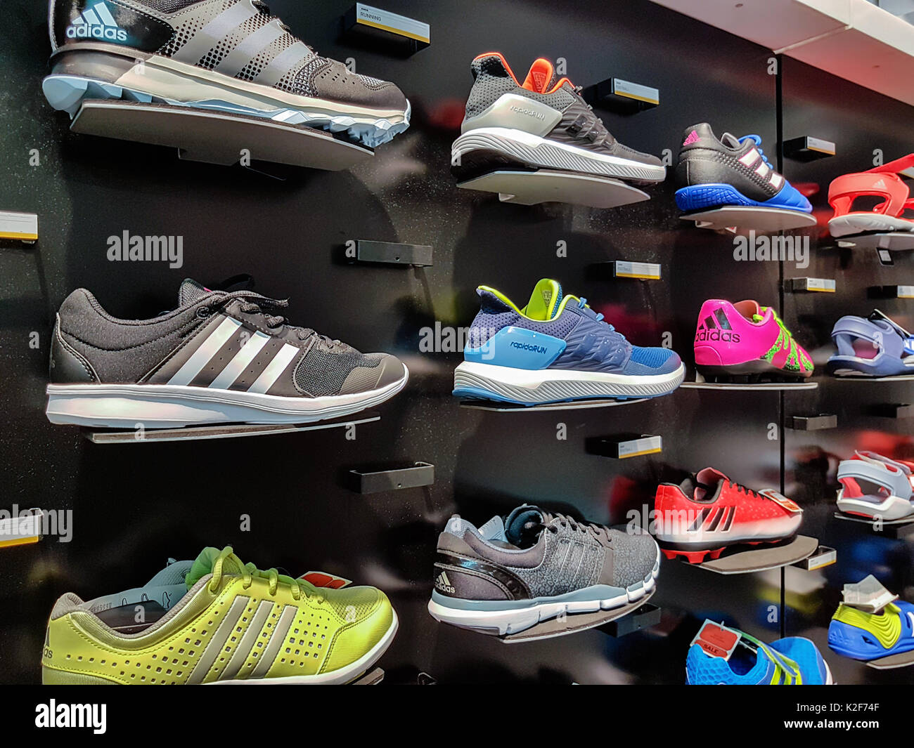 Nowy Sacz, Poland - August 12, 2017: Collection of trendy Adidas sports  shoes