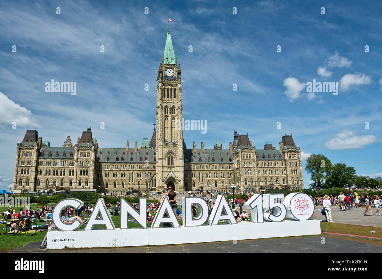 Canada 150 sign on Parliament Hill in Ottawa, Ontario.  Parliament buildings in the nation's capital. Stock Photo