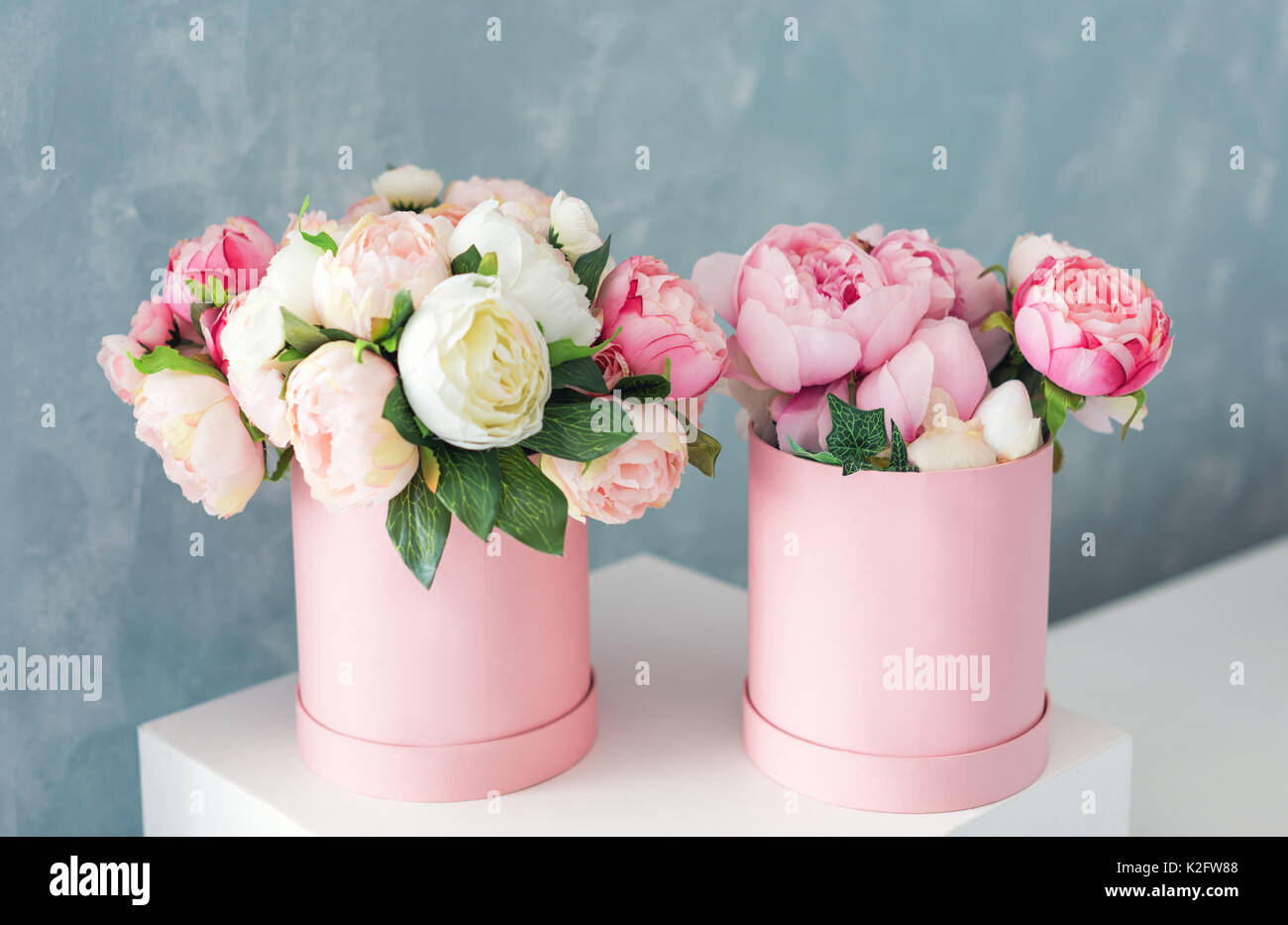 Flower box white wall stock photos flower box white wall stock flowers in round luxury present boxes bouquet of pink and white peonies in paper box izmirmasajfo