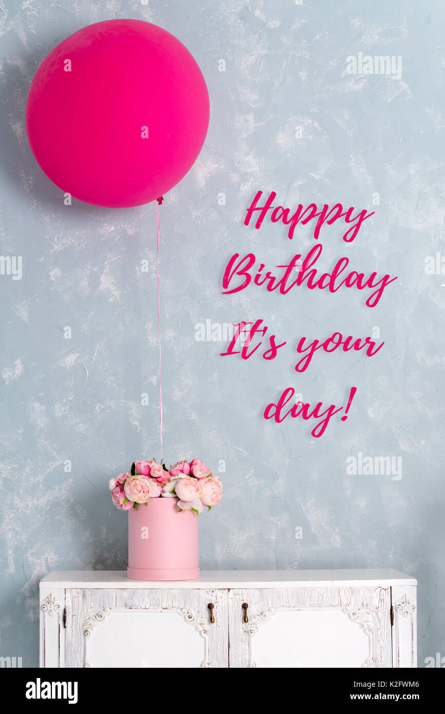 Birthday Card Postcard With Words It Is Your Day One Big Pink Balloon And Flower Box