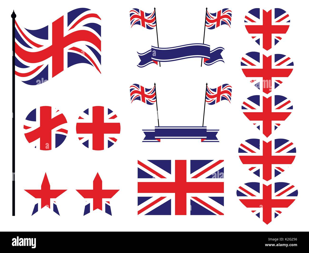 Great Britain flag set. Collection of symbols, flag in heart. Vector illustration Stock Vector