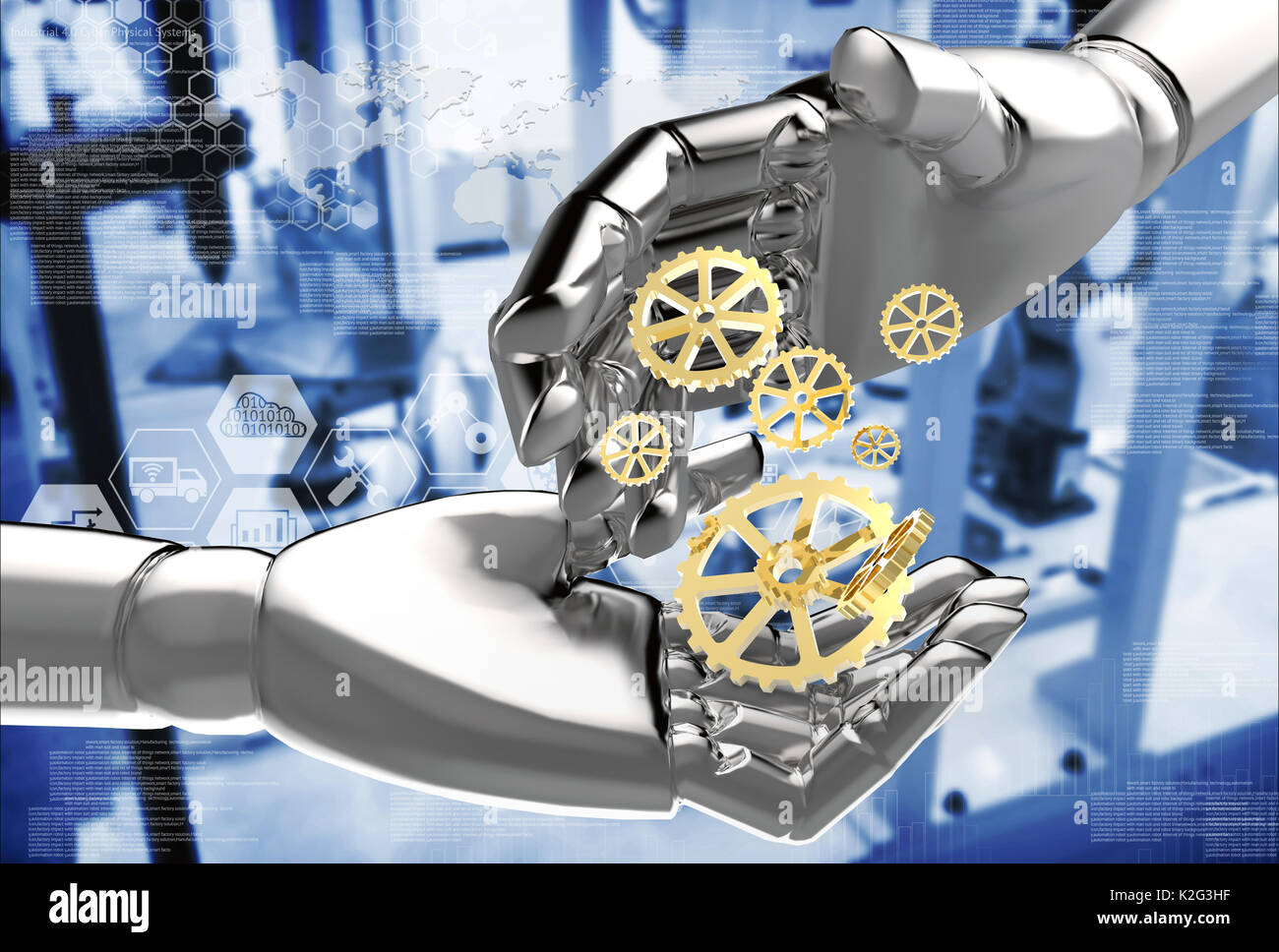 Robots , artificial intelligence disruptive and destroy human jobs. Industrial revolution , industry 4.0 technology concept 3d rendering robot hands a - Stock Image