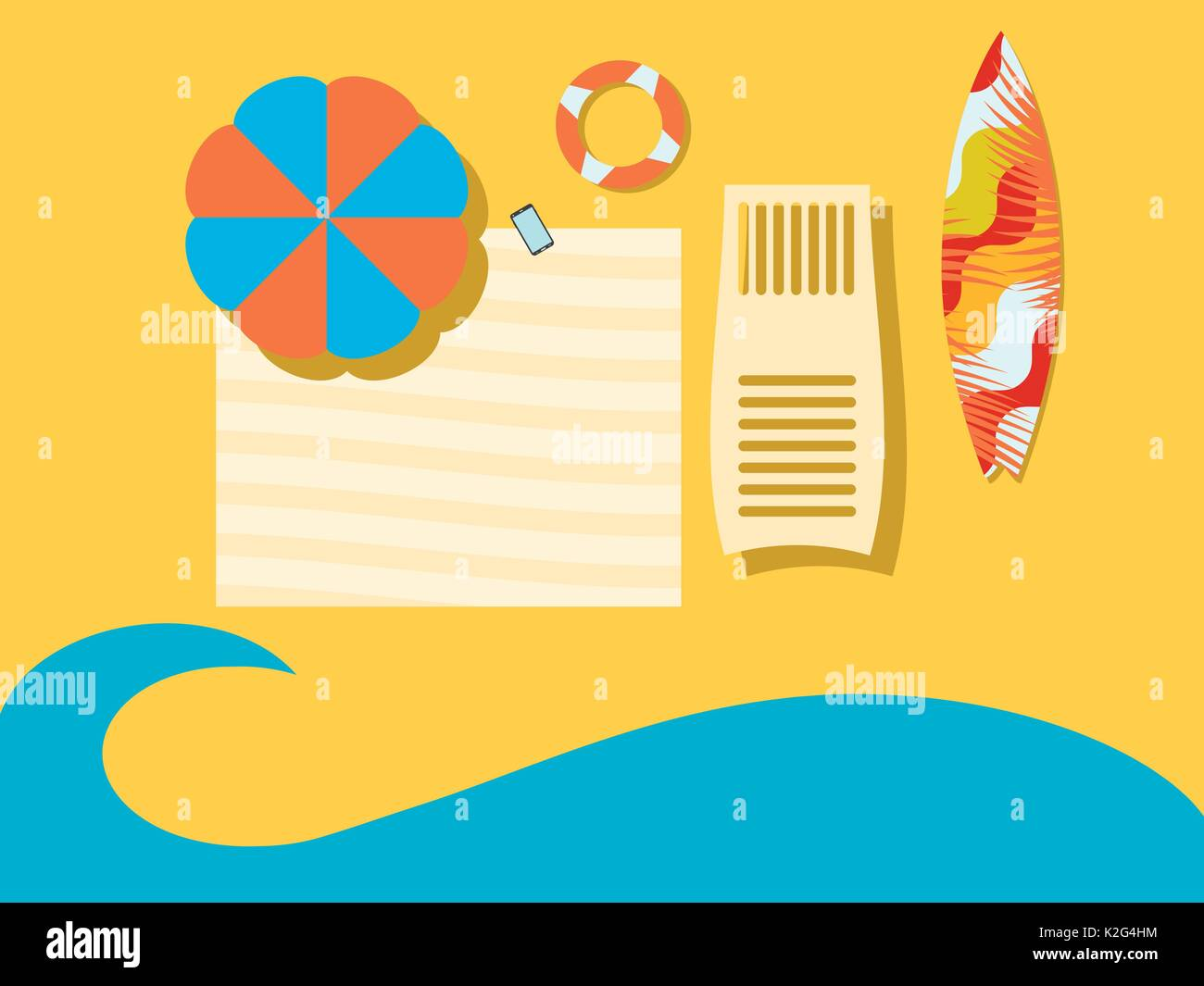 Beach, view from above. The sea coast with an umbrella, a coverlet, a chaise longue and a surfboard. Flat style. Place for the text. Vector illustrati - Stock Vector