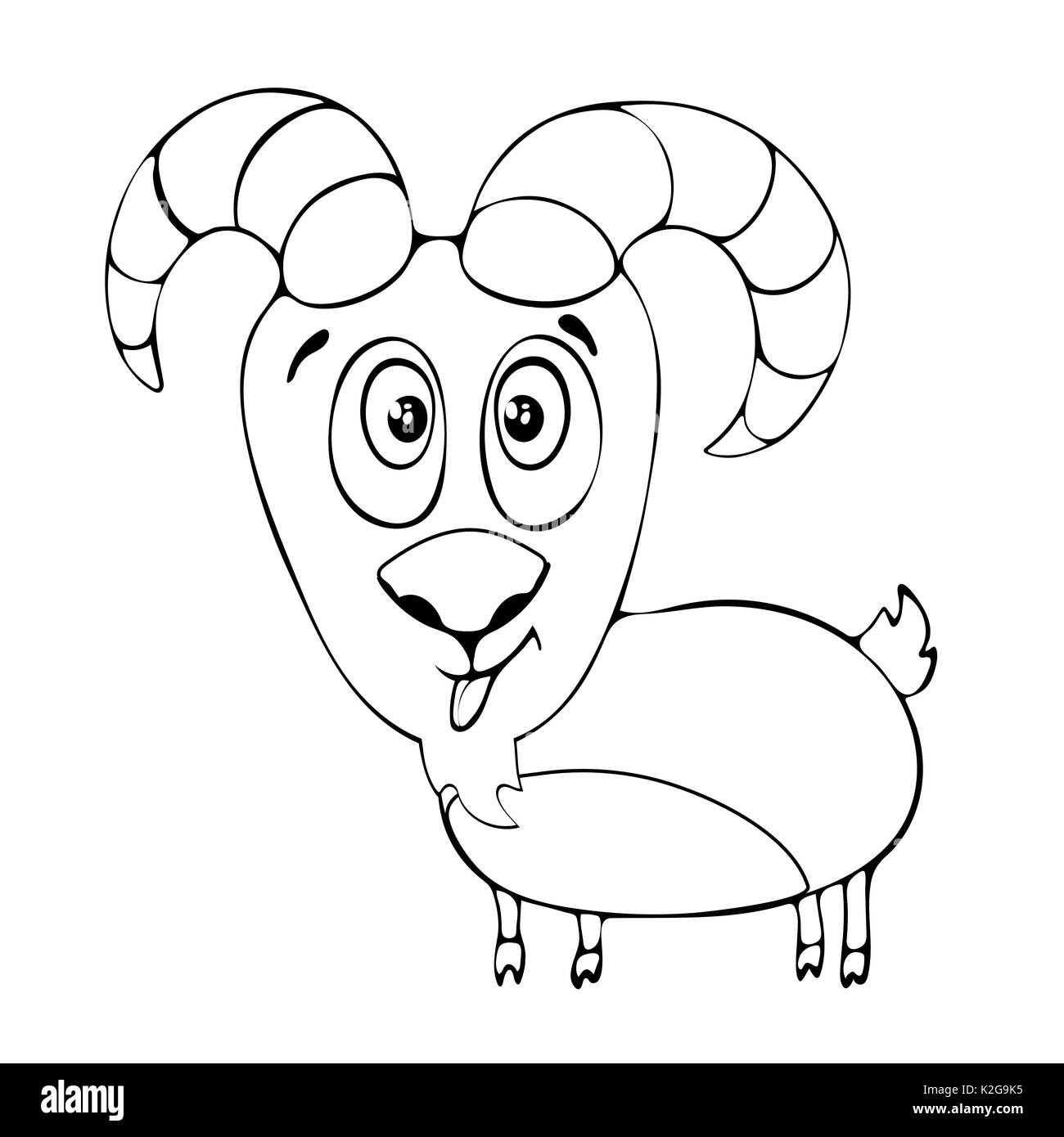 Cartoon Funny Goat For Coloring Book Isolated On White Background