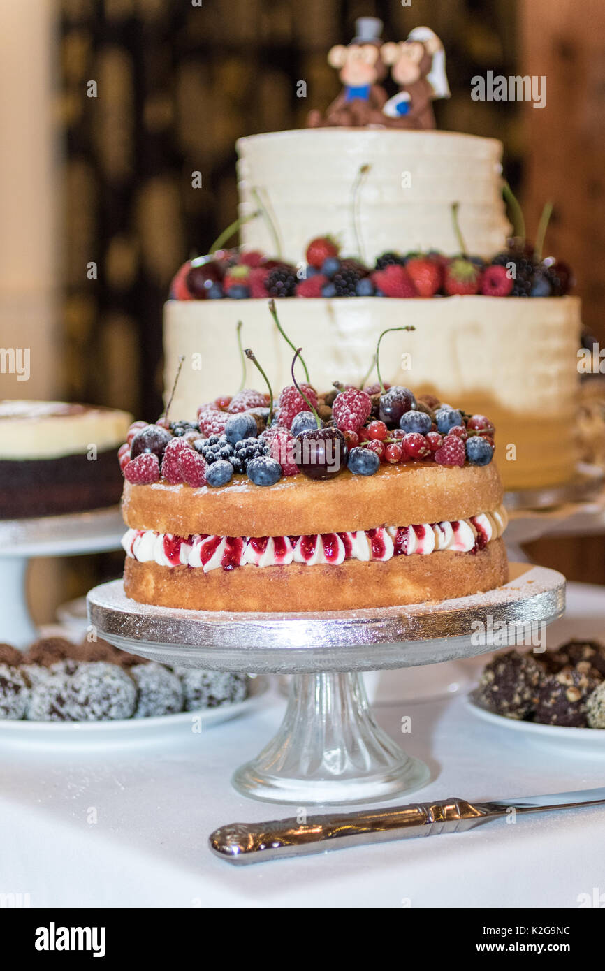 Wedding day images showing - love, marriage, flowers, cakes and flowers - Stock Image