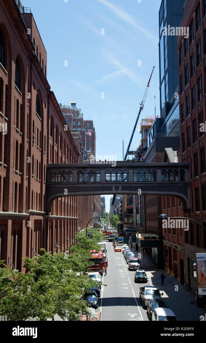 View down West 16th Street in Meatpacking District Viewed from High Line Bridge Park - New York - USA Stock Photo