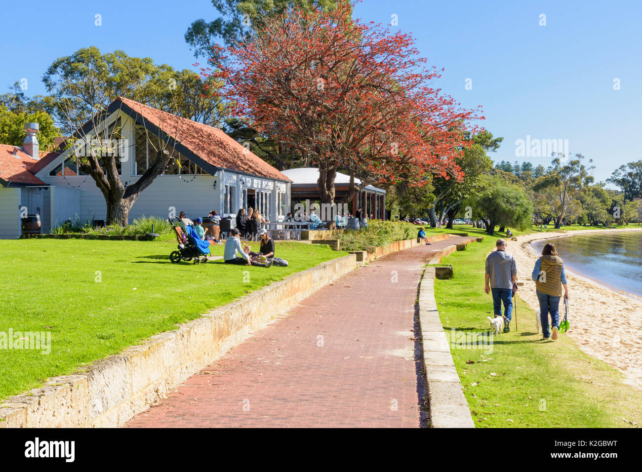 Bayside Kitchen cafe on the promenade along the Matilda Bay Reserve on the Swan River at Crawley, Perth, Western Australia - Stock Image