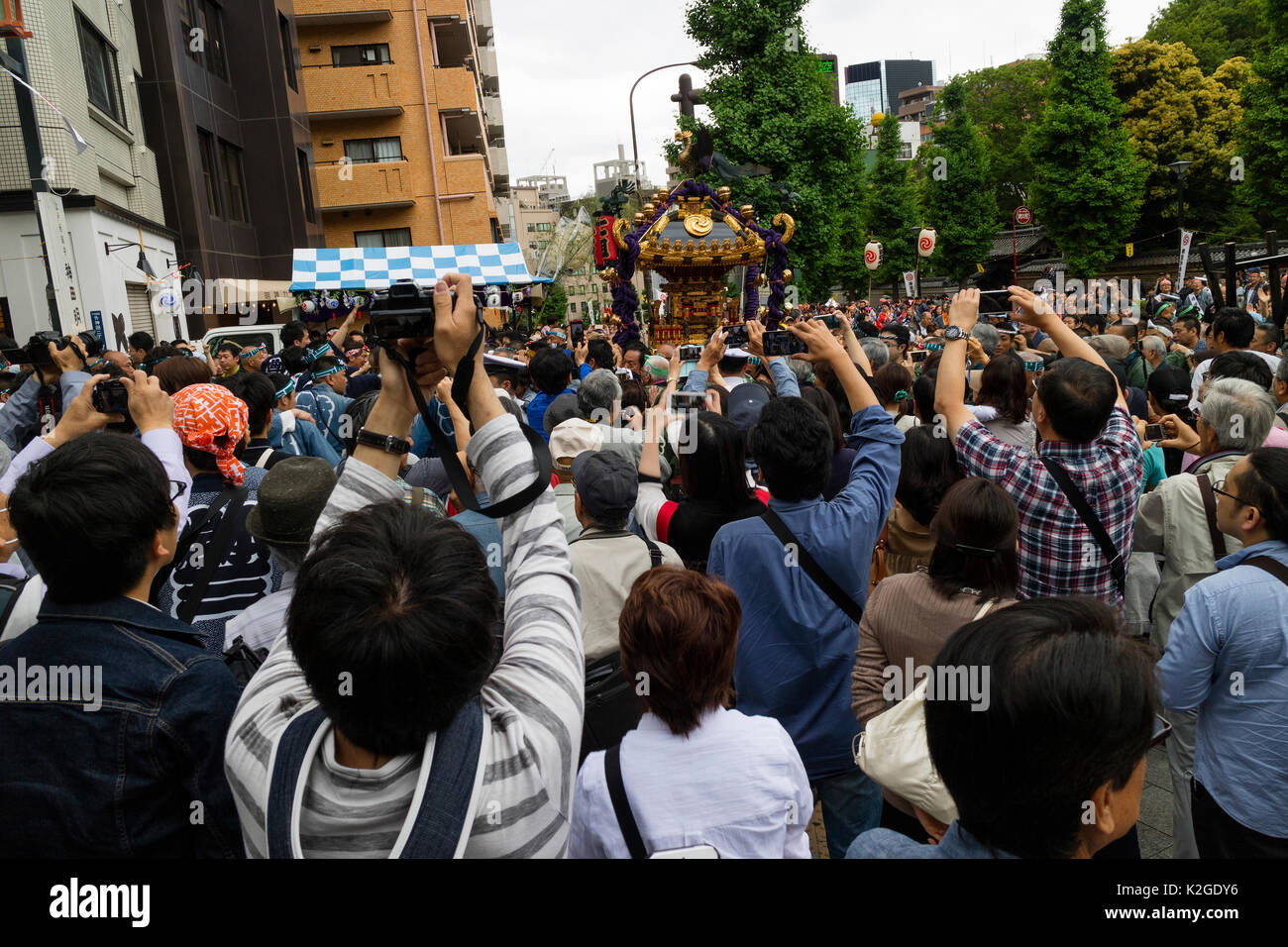 Tokyo, Japan - May 14, 2017: Kanda Matsuri Festval, a parade of portable shrines named mikoshi - Stock Image