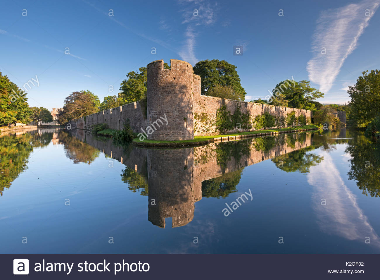 Bishop's Palace and moat in the city of Wells, Somerset, England, UK. September 2013. Stock Photo