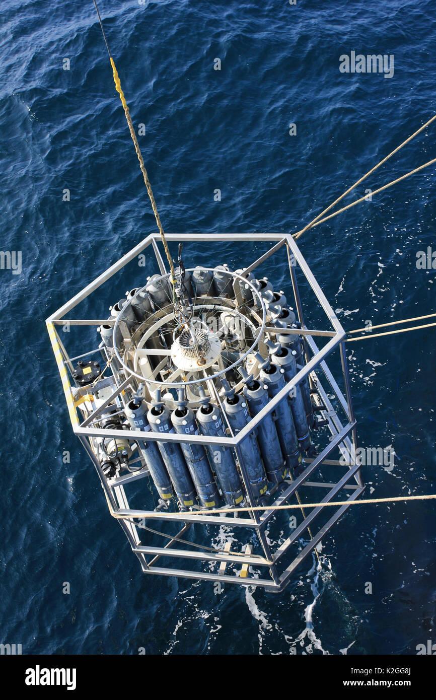 CTD Rosette for sampling water Conductivity, Temperature, Depth - Stock Image