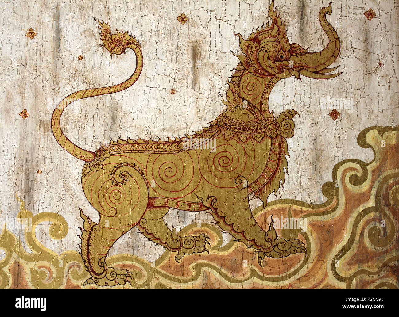Thailand Mythical Creature 'Kochasri' - Body Of A Lion Head Of An Elephant - Stock Image