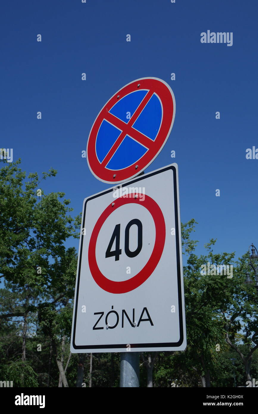 Road signs in Budapest, Hungary, indicating no stopping and a forty kilometers per hour speed limit - Stock Image