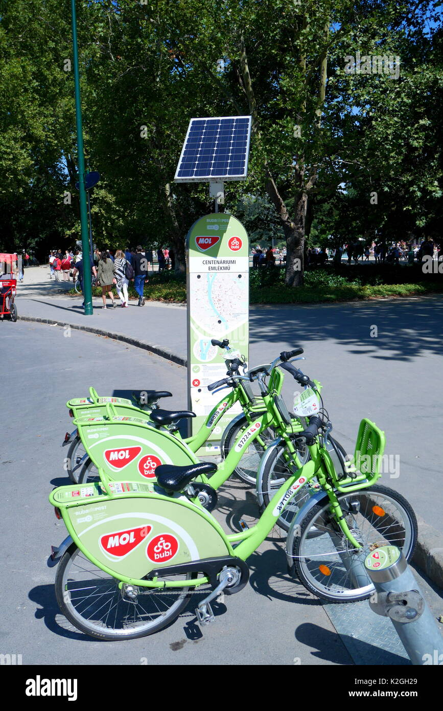 Mol bubi rental bikes, part of a public bicycle sharing scheme, at a solar powered docking station on Margaret Island, Budapest, Hungary - Stock Image